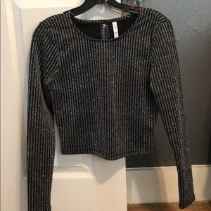 Black and silver sparkly shirt long sleeve